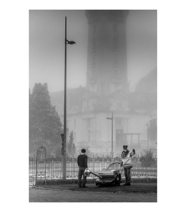 Gare de Limoges dans le brouillard